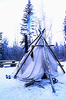 Winter Camping in Snow, Liard River Hot Springs Provincial Park, Northern British Columbia, Canada
