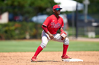 Philadelphia Phillies second baseman Uziel Viloria (23) waits for a throw during an Extended Spring Training game against the Toronto Blue Jays on June 12, 2021 at the Carpenter Complex in Clearwater, Florida. (Mike Janes/Four Seam Images)