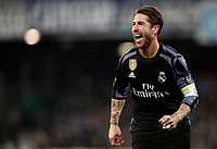 Real Madrid Sergio Ramos celebrates after scoring his second goal during the round of 16 second leg soccer match Champions League between Napoli and Real Madrid at the San Paolo stadium, 7 March 2017. Real Madrid won 3-1 to reach the quarter-finals.<br /> UPDATE IMAGES PRESS/Isabella Bonotto