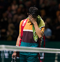 Rotterdam, The Netherlands, 16 Februari 2019, ABNAMRO World Tennis Tournament, Ahoy, Semis, Kei Nishikori (JPN) shows his emotion after loosing to Stan Wawrinka (SUI)<br /> Photo: www.tennisimages.com/Henk Koster