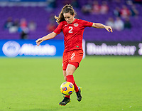 ORLANDO, FL - FEBRUARY 21: Allysha Chapman #2 of Canada dribbles during a game between Canada and Argentina at Exploria Stadium on February 21, 2021 in Orlando, Florida.
