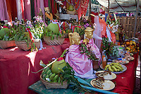 Myanmar, Burma, Bagan.  Nat Pwe, a Ceremony to Thank the Spirits for a Year of Good Fortune.  Table of Offerings to the Spirits.