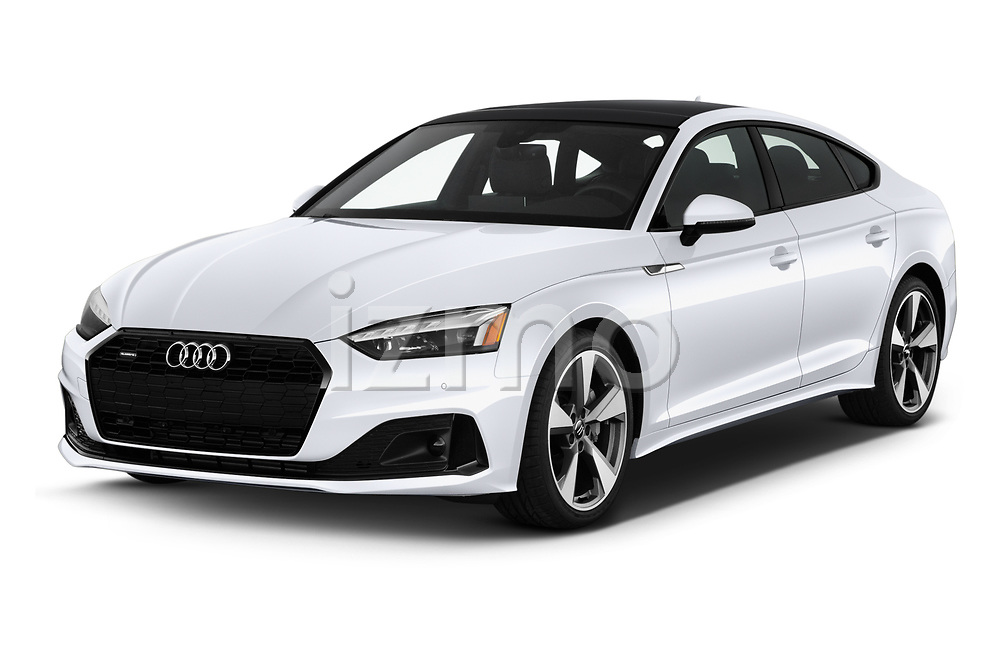 2020 Audi A5-Sportback Premium-plus 5 Door Hatchback Angular Front automotive stock photos of front three quarter view