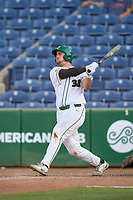 Tulane Green Wave Walker Burchfield (39) hits a home run during a game against the Houston Cougars on May 25, 2021 at BayCare Ballpark in Clearwater, Florida.  Tulane defeated Houston 4-1 in the opening game of the American Athletic Conference Tournament.  (Mike Janes/Four Seam Images)