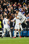 "Alvaro Morata (c) of Real Madrid celebrates with teammates José Ignacio Fernández Iglesias ""Nacho"" (l) and Carlos Henrique Casemiro during the La Liga match between Real Madrid and RC Deportivo La Coruna at the Santiago Bernabeu Stadium on 10 December 2016 in Madrid, Spain. Photo by Diego Gonzalez Souto / Power Sport Images"
