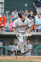 Frederick Keys infielder Drew Dosch (28) in action during a game against the Myrtle Beach Pelicans at Ticketreturn.com Field at Pelicans Ballpark on May 21, 2015 in Myrtle Beach, South Carolina.  Frederick defeated Myrtle Beach 4-3. (Robert Gurganus/Four Seam Images)