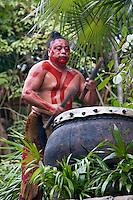Mayan Drummer, Xcaret, Riviera Maya, Yucatan, Mexico.