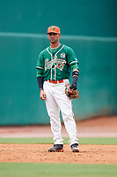 Greensboro Grasshoppers third baseman J.C. Millan (14) during a game against the Lakewood BlueClaws on June 10, 2018 at First National Bank Field in Greensboro, North Carolina.  Lakewood defeated Greensboro 2-0.  (Mike Janes/Four Seam Images)