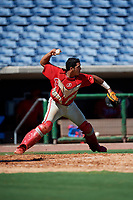 Philadelphia Phillies catcher Freddy Francisco (6) throws to third base during a Florida Instructional League game against the New York Yankees on October 12, 2018 at Spectrum Field in Clearwater, Florida.  (Mike Janes/Four Seam Images)