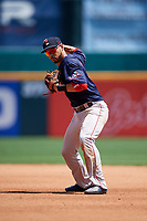 Pawtucket Red Sox second baseman Ivan De Jesus Jr. (13) throws to first base during a game against the Buffalo Bisons on June 28, 2018 at Coca-Cola Field in Buffalo, New York.  Buffalo defeated Pawtucket 8-1.  (Mike Janes/Four Seam Images)