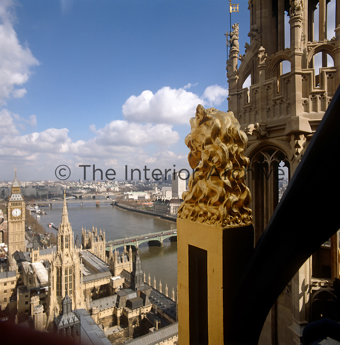 View towards Big Ben and the City of London from Victoria Tower and the House of Lords
