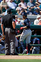 Atlanta Braves left fielder Ryan LaMarre (68) looks back at home plate umpire Jerry Layne during a Grapefruit League Spring Training game against the Detroit Tigers on March 2, 2019 at Publix Field at Joker Marchant Stadium in Lakeland, Florida.  Tigers defeated the Braves 7-4.  (Mike Janes/Four Seam Images)