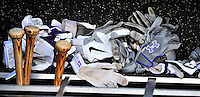9 July 2011: A pile of Colorado Rockies batting gloves lie at the bat rack in the dugout prior to a game against the Washington Nationals at Nationals Park in Washington, District of Columbia. The Rockies edged out the Nationals 2-1 to win the second game of their 3-game series. Mandatory Credit: Ed Wolfstein Photo