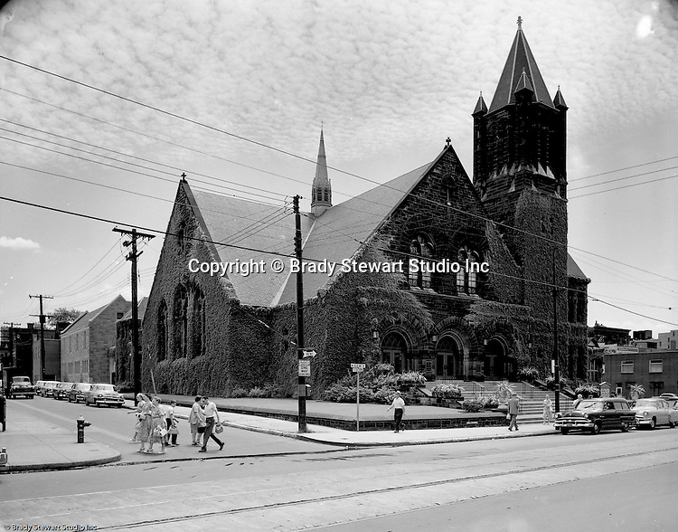 Pittsburgh PA:  View of the Sixth Presbyterian Church in the Shadyside section of Pittsburgh.  The church's name was changed and is now the Eastminster Presbyterian Church.