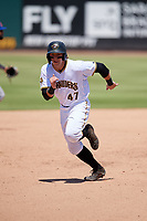Bradenton Marauders Mason Martin (47) running the bases during a Florida State League game against the St. Lucie Mets on July 28, 2019 at LECOM Park in Bradenton, Florida.  Bradenton defeated St. Lucie 7-3.  (Mike Janes/Four Seam Images)
