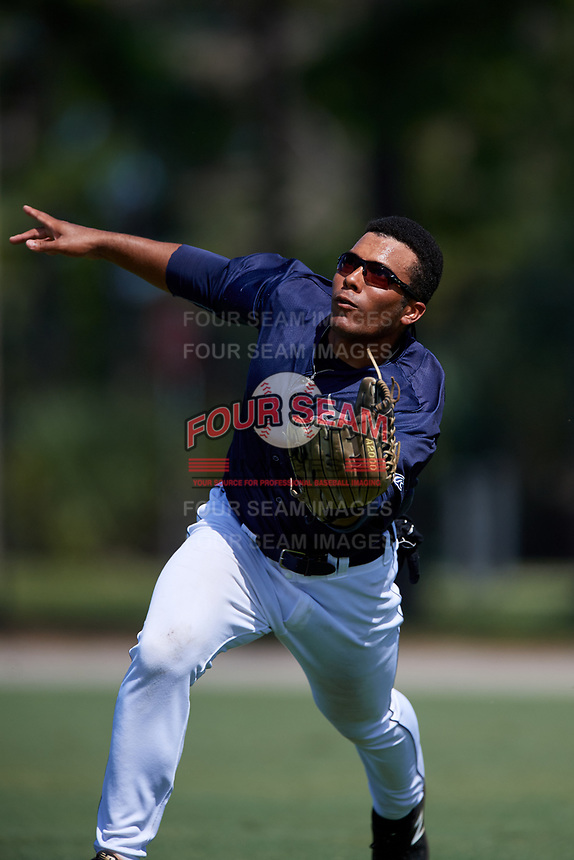 GCL Tigers East right fielder Teddy Hoffman (17) tracks a fly ball during a game against the GCL Tigers West on August 8, 2018 at Tigertown in Lakeland, Florida.  GCL Tigers East defeated GCL Tigers West 3-1.  (Mike Janes/Four Seam Images)