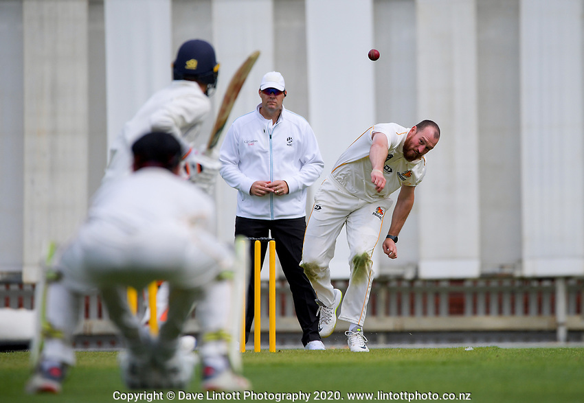 Iain McPeake bowls during day one of the Plunket Shield match between the Wellington Firebirds and Otago at Basin Reserve in Wellington, New Zealand on Thursday, 5 November 2020. Photo: Dave Lintott / lintottphoto.co.nz