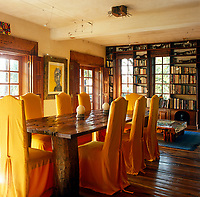 The refectory table in the dining area is made from the timber of a dhow that ran aground with the mast forming the table legs