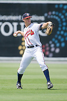 Center fielder Todd Cunningham #2 of the Rome Braves warms up between innings at State Mutual Stadium July 25, 2010, in Rome, Georgia.  Photo by Brian Westerholt / Four Seam Images