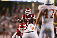 Arkansas quarterback KJ Jefferson (1) motions, Saturday, September 11, 2021 during the third quarter of a football game at Reynolds Razorback Stadium in Fayetteville. Check out nwaonline.com/210912Daily/ for today's photo gallery. <br /> (NWA Democrat-Gazette/Charlie Kaijo)