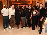 2020 FOX WINTER TCA: L-R: 9-1-1: LONE STAR cast members Brian Michael Smith and Ronen Rubinstein, 9-1-1 cast members Aisha Hinds, XXX, Oliver Stark, Natacha Karam, 9-1-1 cast member Angela Bassett, and 9-1-1: LONE STAR cast members Jim Parrack and Rafael Silva celebrate at the FOX WINTER TCA ALL-STAR PARTY during the 2020 FOX WINTER TCA at the Langham Hotel, Tuesday, Jan. 7 in Pasadena, CA. © 2020 Fox Media LLC. CR: Frank Micelotta/FOX/PictureGroup