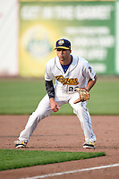 Burlington Bees first baseman Michael Pierson (22) during a game against the Bowling Green Hot Rods on May 7, 2016 at Community Field in Burlington, Iowa.  Bowling Green defeated Burlington 11-1.  (Mike Janes/Four Seam Images)