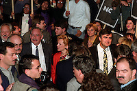 FILE PHOTO - Jacques  Parizeau, and Lucien Bouchard with Parti Quebecois members and people against the NO in the 1992 Federal referendum gather at Arena Maurice-Richard, October 23, 1992<br /> <br /> Photo : Pierre Roussel - Agence Quebec Presse