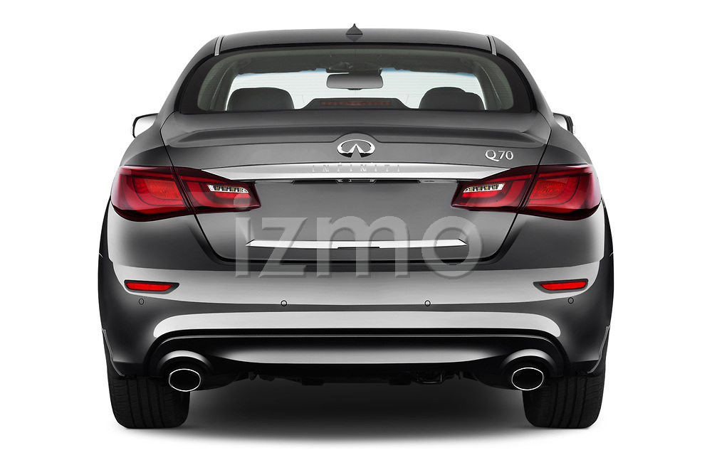 Straight rear view of 2016 Infiniti Q70 Premium 4 Door Sedan Rear View  stock images