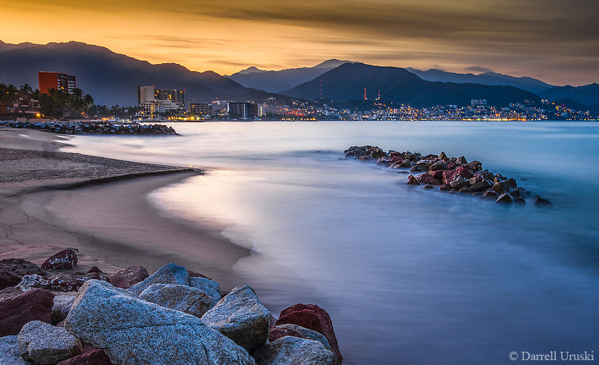 Fine Art Landscape Photograph, of the skyline along Banderas Bay in Puerto Vallarta, Mexico.<br />