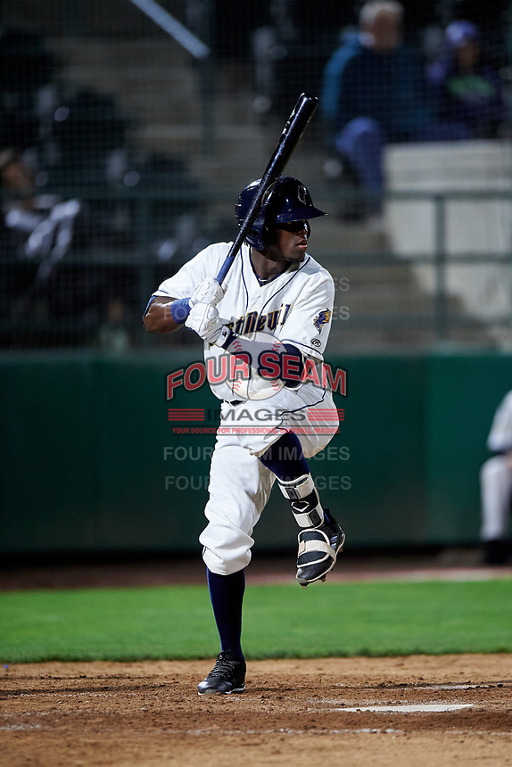 Tri-City Dust Devils Jordy Barley (23) at bat during a Northwest League game against the Vancouver Canadians at Gesa Stadium on August 21, 2019 in Pasco, Washington. Vancouver defeated Tri-City 1-0. (Zachary Lucy/Four Seam Images)