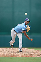 Tampa Bay Rays pitcher Joel Peguero (74) delivers a pitch during an Instructional League game against the Baltimore Orioles on October 5, 2017 at Ed Smith Stadium in Sarasota, Florida.  (Mike Janes/Four Seam Images)