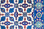 Iznik 16 - Stylized flower motifs on Iznik tiles in Rustem Pasa Mosque, Eminonu, Istanbul, Turkey