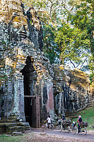 Cambodia.  North Gate, Angkor Thom.  Women Carrying Firewood Home at the end of the Day.