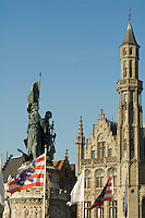Belgium, Bruges, Statue of Jan Breydel and Pieter de Coninck, Provincial Palace