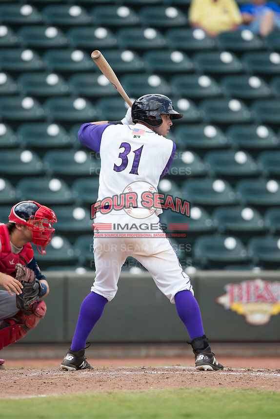 Brandon Dulin (31) of the Winston-Salem Dash at bat against the Potomac Nationals at BB&T Ballpark on August 6, 2017 in Winston-Salem, North Carolina.  The Nationals defeated the Dash 4-3 in 10 innings.  (Brian Westerholt/Four Seam Images)