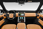 Stock photo of straight dashboard view of a 2019 Land Rover Range Rover Autobiography 5 Door SUV