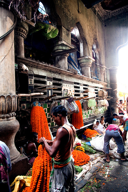 The flower markets in the Bengal capital of Kolkata underneath the eastern end of the famous Howrah bridge. The markets in  are a feast of colour and smells and show off India at its best.