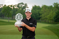 6th June 2021; Dublin, Ohio, USA;Patrick Cantlay (USA) holds the trophy after winning the sudden death playoff of the Memorial Tournament at Muirfield Village Golf Club in Dublin, Ohio
