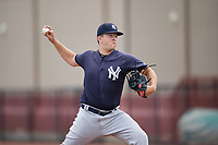 GCL Yankees East relief pitcher Montana Semmel (16) during a Gulf Coast League game against the GCL Phillies West on August 3, 2019 at the Carpenter Complex in Clearwater, Florida.  The GCL Phillies West defeated the GCL Yankees East 15-7 in a completion of a game that was originally started on July 26, 2019.  (Mike Janes/Four Seam Images)