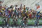 Emanuel Buchmann (GER) Bora-Hansgrohe, Thibaut Pinot (FRA) Groupama-FDJ, Egan Bernal (COL) Team Ineos, Yellow Jersey Julian Alaphilippe (FRA) Deceuninck-Quick Step, Mikel Landa (ESP) Movistar and Steven Kruijswijk (NED) Jumbo-Visma climb the Col du Tourmalet during Stage 14 of the 2019 Tour de France running 117.5km from Tarbes to Tourmalet Bareges, France. 20th July 2019.<br /> Picture: Colin Flockton | Cyclefile<br /> All photos usage must carry mandatory copyright credit (© Cyclefile | Colin Flockton)