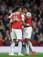 Pierre-Emerick Aubameyang of Arsenal celebrates his second goal with Alex Iwobi of Arsenal during the UEFA Europa League match group between Arsenal and Vorskla Poltava at the Emirates Stadium, London, England on 20 September 2018. Photo by Andrew Aleks / PRiME Media Images.