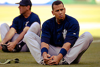 16 June 2006: Alex Rodriguez, third baseman for the New York Yankees, stretches prior to a game against the Washington Nationals at RFK Stadium, in Washington, DC. The Yankees defeated the Nationals 7-5 in the first meeting of the two franchises...Mandatory Photo Credit: Ed Wolfstein Photo...