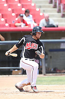 Kellin Deglan (7) of the High Desert Mavericks bats during a game against the Bakersfield Blaze at Mavericks Stadium on May 18, 2015 in Adelanto, California. High Desert defeated Bakersfield, 7-6. (Larry Goren/Four Seam Images)