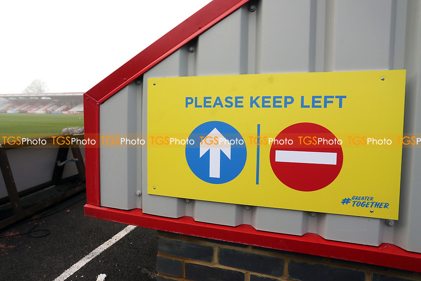 One-way system signage during Stevenage vs Swansea City, Emirates FA Cup Football at the Lamex Stadium on 9th January 2021