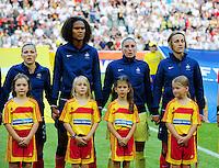 Fifa Women's World Cup Germany 2011 : France - Germany ( Frankrijk - Duitsland ) at Munchengladbach World Cup stadium : Laure BOULLEAU , Wendie RENARD , Berangere SAPOWICZ  en Sandrine SOUBEYRAND ..foto DAVID CATRY / Vrouwenteam.be