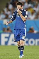 Lionel Messi of Argentina looks dejected