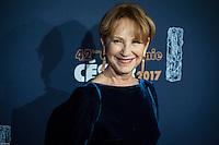 Nathalie Baye ‡ la 42e CÈrÈmonie des CÈsars ‡ l'arrivÈe sur le tapis rouge de la salle Pleyel ‡ Paris le 24 fÈvrier 2017