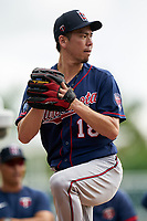 Minnesota Twins pitcher Kenta Maeda (18) during a Spring Training practice on February 20, 2020 at Hammond Stadium in Fort Myers, Florida.  (Mike Janes/Four Seam Images)