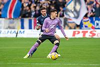 25th September 2021; Dens Park, Dundee, Scotland: Scottish Premiership football, Dundee versus Rangers; Ianis Hagi of Rangers takes on Ryan Sweeney of Dundee
