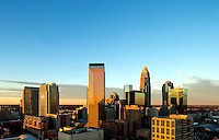 Skyline photography of the Charlotte NC downtown center city. Photo taken in January 2013 from the East side side of Charlotte looking towards Uptown Charlotte. Image is part of a series of Charlotte skyline photographs taken over several years, from more than a dozen angles, and with different weather scenes. Images are available for licensing and as framed art.